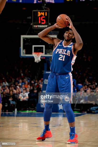 Joel Embiid of the Philadelphia 76ers handles the ball during the game against the Los Angeles Lakers on December 7 2017 at Wells Fargo Center in...