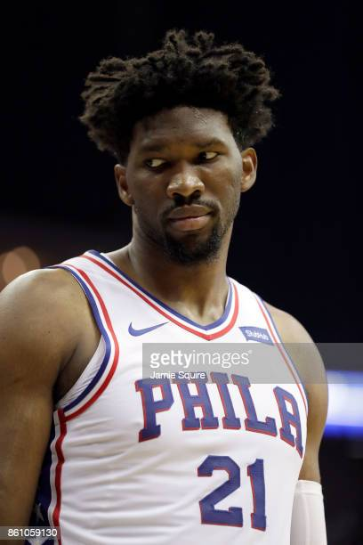 Joel Embiid of the Philadelphia 76ers in action during the game against the Miami Heat at Sprint Center on October 13 2017 in Kansas City Missouri