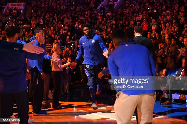 Joel Embiid of the Philadelphia 76ers is introduced before the game against the Los Angeles Lakers on December 7 2017 at Wells Fargo Center in...