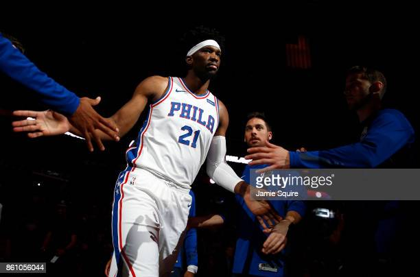 Joel Embiid of the Philadelphia 76ers is introduced prior to the game against the Miami Heat at Sprint Center on October 13 2017 in Kansas City...