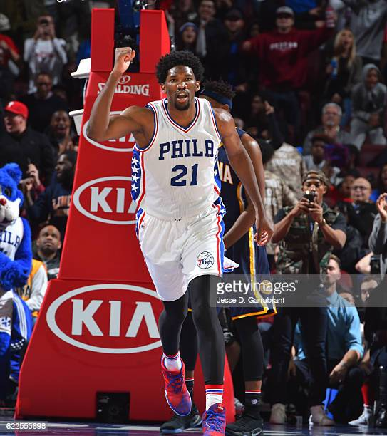 Joel Embiid of the Philadelphia 76ers is pumped up against the Indiana Pacers during a game at the Wells Fargo Center on November 11 2016 in...