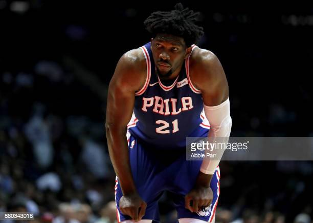 Joel Embiid of the Philadelphia 76ers looks on against the Brooklyn Nets during their Pre Season game at Nassau Veterans Coliseum on October 11 2017...