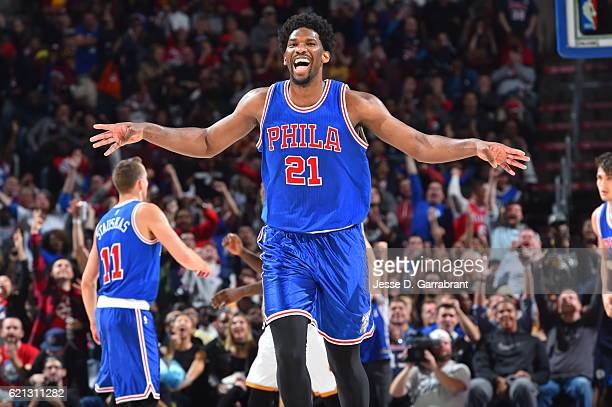 Joel Embiid of the Philadelphia 76ers looks on against the Cleveland Cavaliers during a game at the Wells Fargo Center on November 5 2016 in...