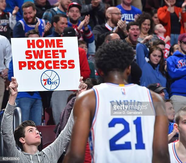 Joel Embiid of the Philadelphia 76ers looks on against the Memphis Grizzlies at Wells Fargo Center on November 23 2016 in Philadelphia Pennsylvania...