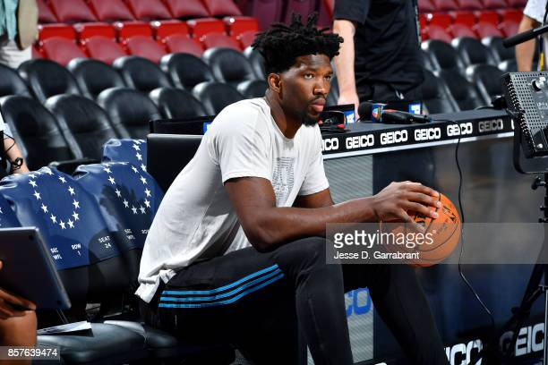 Joel Embiid of the Philadelphia 76ers looks on before the game against the Memphis Grizzlies during a preseason game on October 4 2017 at Wells Fargo...