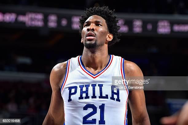 Joel Embiid of the Philadelphia 76ers looks on during the game against the Toronto Raptors on January 18 2017 at Wells Fargo Center in Philadelphia...