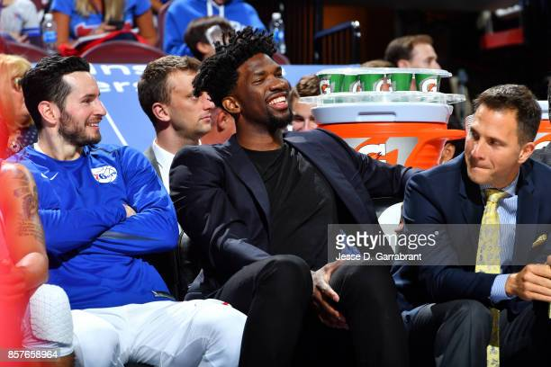 Joel Embiid of the Philadelphia 76ers looks on during the game against the Memphis Grizzlies during a preseason game on October 4 2017 at Wells Fargo...