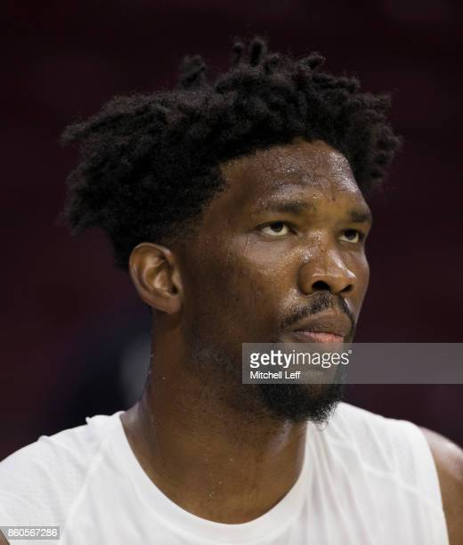 Joel Embiid of the Philadelphia 76ers looks on prior to the game against the Boston Celtics at the Wells Fargo Center on October 6 2017 in...