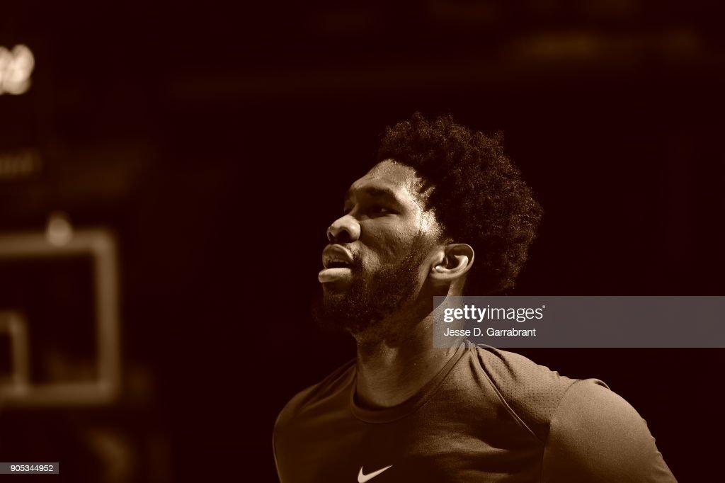 Joel Embiid #21 of the Philadelphia 76ers looks on prior to the game against the Toronto Raptors at Wells Fargo Center on January 15, 2018 in Philadelphia, Pennsylvania