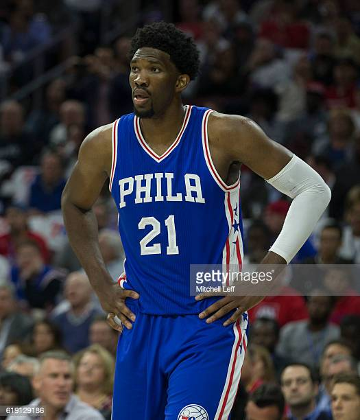 Joel Embiid of the Philadelphia 76ers plays against the Oklahoma City Thunder at Wells Fargo Center on October 26 2016 in Philadelphia Pennsylvania...