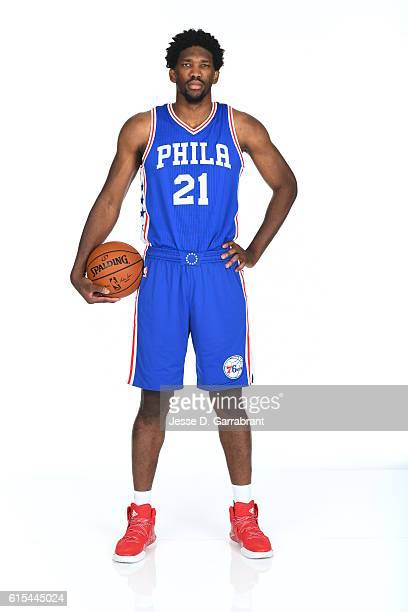 Joel Embiid of the Philadelphia 76ers poses for a photo at the76ers Training Complex on October 17 2016 in Camden New Jersey NOTE TO USER User...