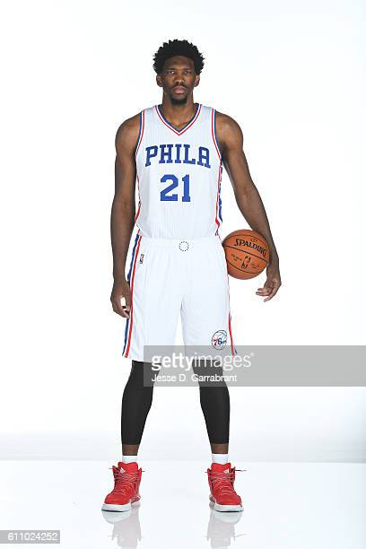 Joel Embiid of the Philadelphia 76ers poses for a portrait at the Philadelphia 76ers Training Complex during NBA media day on September 262016 in...
