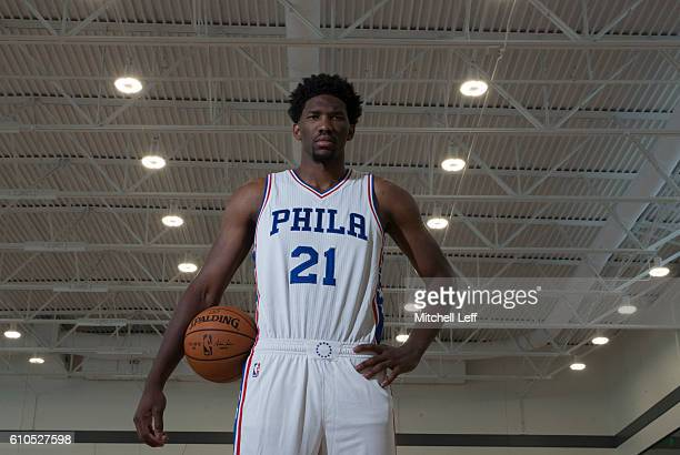 Joel Embiid of the Philadelphia 76ers poses for a portrait during media day on September 26 2016 in Camden New Jersey NOTE TO USER User expressly...