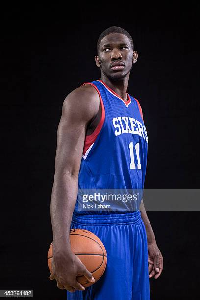 Joel Embiid of the Philadelphia 76ers poses for a portrait during the 2014 NBA rookie photo shoot at MSG Training Center on August 3 2014 in...
