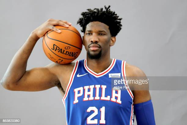 Joel Embiid of the Philadelphia 76ers poses for a portrait during the Philadelphia 76ers Media Day on September 25 2017 at the Philadelphia 76ers...
