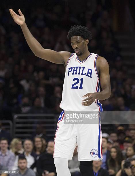 Joel Embiid of the Philadelphia 76ers reacts after a made basket against the Houston Rockets at the Wells Fargo Center on January 27 2017 in...