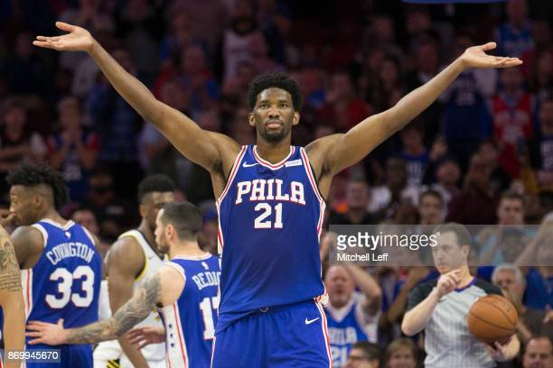 Joel Embiid of the Philadelphia 76ers reacts after a made foul shot in the fourth quarter against the Indiana Pacers at the Wells Fargo Center on...