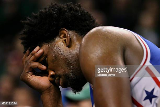 Joel Embiid of the Philadelphia 76ers reacts after fouling out of the game against the Boston Celtics in the fourth quarter at TD Garden on January 6...