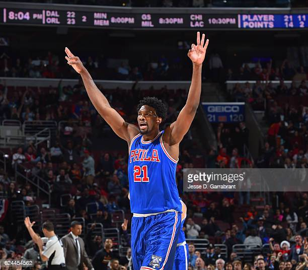 Joel Embiid of the Philadelphia 76ers reacts after hitting a three pointer against the Phoenix Suns during a game at the Wells Fargo Center on...