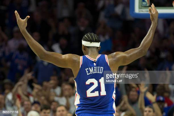 Joel Embiid of the Philadelphia 76ers reacts against the Boston Celtics at the Wells Fargo Center on October 20 2017 in Philadelphia Pennsylvania...