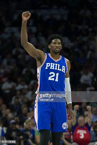 Joel Embiid of the Philadelphia 76ers reacts against the Oklahoma City Thunder at Wells Fargo Center on October 26 2016 in Philadelphia Pennsylvania...