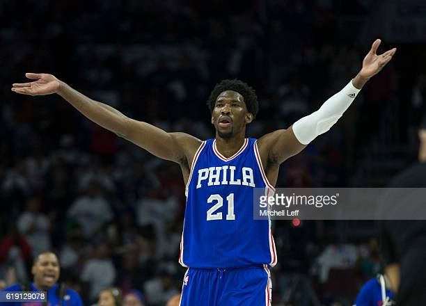 Joel Embiid of the Philadelphia 76ers reacts against the Oklahoma City Thunder at Wells Fargo Center on October 26 2016 in Philadelphia Pennsylvania...