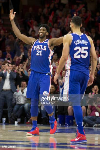 Joel Embiid of the Philadelphia 76ers reacts along with Ben Simmons after drawing a technical foul on Donovan Mitchell of the Utah Jazz in the fourth...