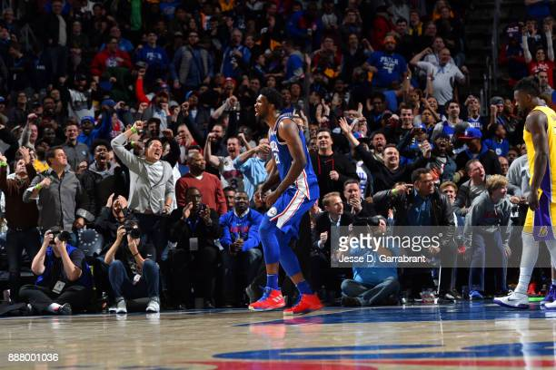 Joel Embiid of the Philadelphia 76ers reacts during the game against the Los Angeles Lakers on December 7 2017 at Wells Fargo Center in Philadelphia...