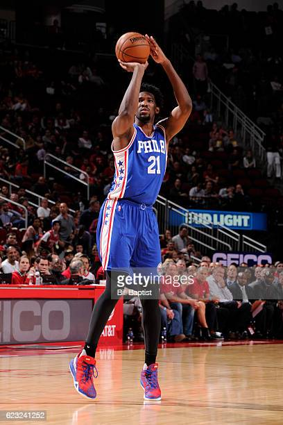 Joel Embiid of the Philadelphia 76ers shoots the ball against the Houston Rockets on November 14 2016 at the Toyota Center in Houston Texas NOTE TO...