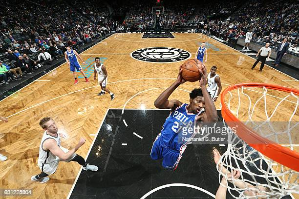 Joel Embiid of the Philadelphia 76ers shoots the ball against the Brooklyn Nets during the game on January 8 2017 at Barclays Center in Brooklyn New...