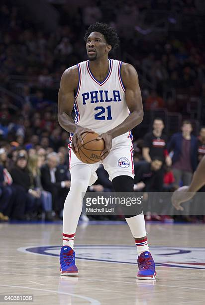 Joel Embiid of the Philadelphia 76ers shoots the ball against the Houston Rockets at the Wells Fargo Center on January 27 2017 in Philadelphia...
