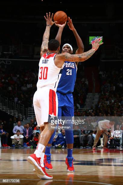 Joel Embiid of the Philadelphia 76ers shoots the ball against the Washington Wizards on October 18 2017 at Capital One Arena in Washington DC NOTE TO...