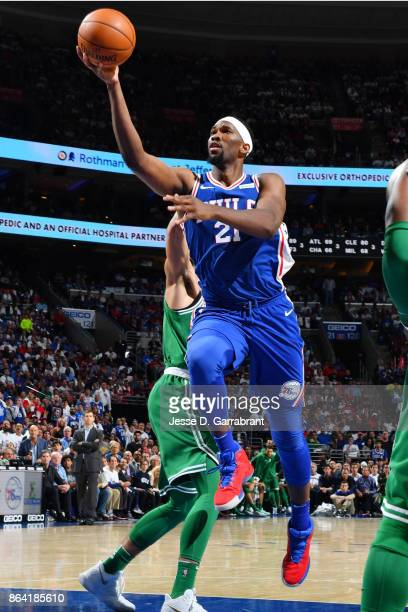 Joel Embiid of the Philadelphia 76ers shoots the ball against the Boston Celtics during the game on October 20 2017 at Wells Fargo Center in...