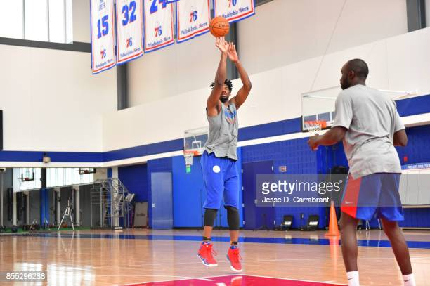 Joel Embiid of the Philadelphia 76ers shoots the ball during practice on September 27 2017 at the Sixers Training Complex in Camden New Jersey NOTE...