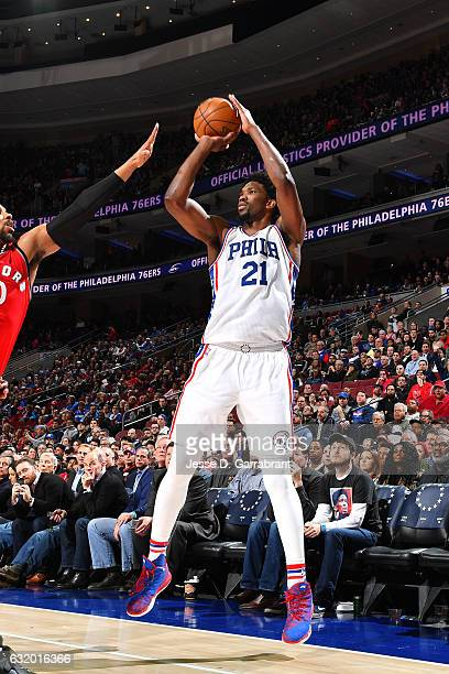 Joel Embiid of the Philadelphia 76ers shoots the ball during the game against the Toronto Raptors on January 18 2017 at Wells Fargo Center in...