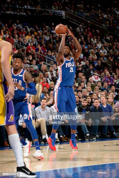 Joel Embiid of the Philadelphia 76ers shoots the ball during the game against the Los Angeles Lakers on December 7 2017 at Wells Fargo Center in...