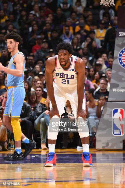 Joel Embiid of the Philadelphia 76ers shows emotion during the game against the Los Angeles Lakers on November 15 2017 at STAPLES Center in Los...