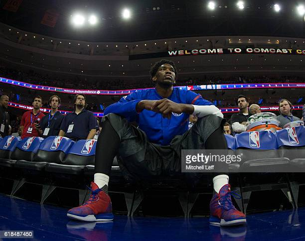 Joel Embiid of the Philadelphia 76ers sits on the bench prior to the game against the Oklahoma City Thunder at Wells Fargo Center on October 26 2016...