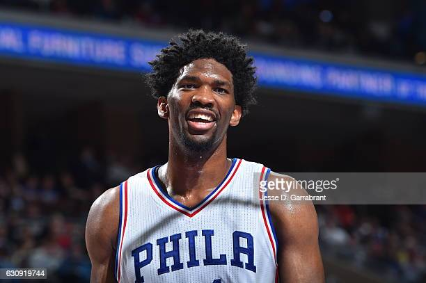 Joel Embiid of the Philadelphia 76ers smiles for the camera against Minnesota Timberwolves during game at the Wells Fargo Center on January 3 2017 in...