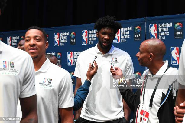 Joel Embiid of the Philadelphia 76ers speaks to the media during the Basketball Without Borders Africa press conference at the American International...
