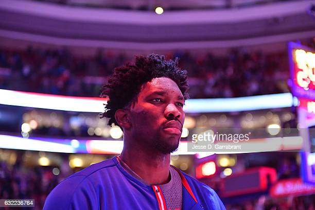 Joel Embiid of the Philadelphia 76ers stands for the National Anthem before a game against the Portland Trail Blazers on January 20 2017 at the Wells...