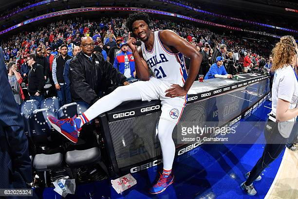 Joel Embiid of the Philadelphia 76ers talks with the media after the game against the Toronto Raptors on January 18 2017 at Wells Fargo Center in...