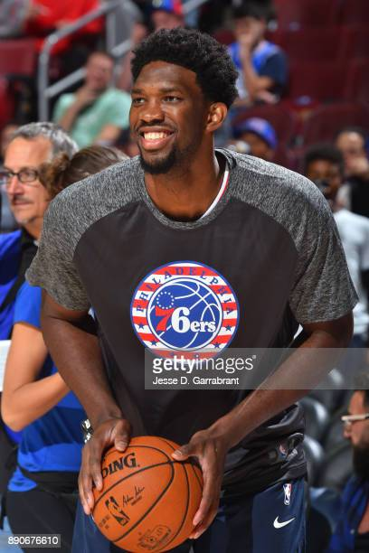 Joel Embiid of the Philadelphia 76ers warms up before the game against the Indiana Pacers on November 3 2017 at Wells Fargo Center in Philadelphia...