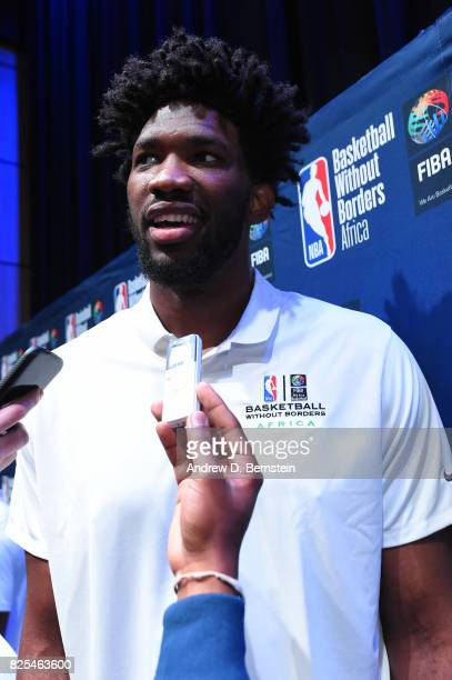 Joel Embiid of the Philadephia 76ers chats with the media during the Basketball Without Borders Africa press conference at the American International...