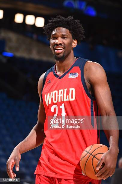 Joel Embiid of the World Team before the game against the USA Team during the BBVA Compass Rising Stars Challenge as part of 2017 AllStar Weekend at...
