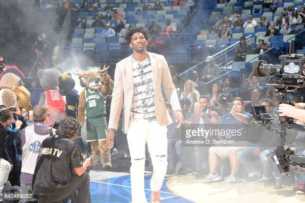 Joel Embiid of the World Team gets introduced before the BBVA Compass Rising Stars Challenge as part of 2017 AllStar Weekend at the Smoothie King...