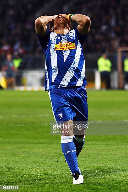 Joel Epalle of Bochum reacts during the Bundesliga match between VfL Bochum and VfB Stuttgart at Rewirpower Stadium on April 23 2010 in Bochum Germany