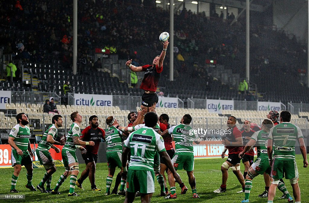 Joel Everson of Canterbury takes a lineout during the round 7 ITM Cup match between Canterbury and Manawatu at AMI Stadium on September 25, 2013 in Christchurch, New Zealand.
