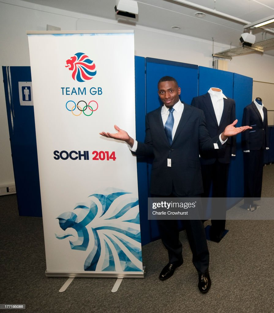 Joel Fearon of the British Winter Olympic Bobsleigh Team poses after being fitted out in the Team GB Oliver Brown clothing as it was announced that Oliver Brown are to be the Official Supplier of Formalwear to Team GB's delegation participating in the Sochi 2014 Olympic Winter Games on August 9, 2013 in Bath, England.