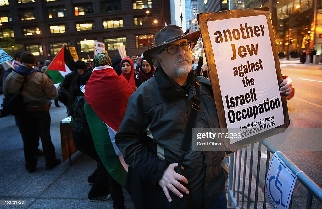 Joel Finkel participates in a demonstration calling for an end to Israeli attacks on Gaza on November 19, 2012 in Chicago, Illinois. Several hundred protestors rallied in the Federal Building Plaza before marching through the Loop during rush hour.